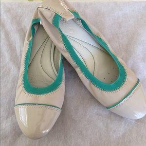 Geox Ballerina Flats White with Aqua Green